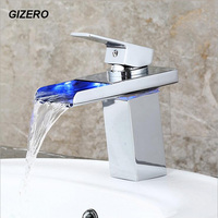 LED Waterfall Faucet Chrome Polish Solid Brass Basin Sink Taps Deck Mounted Temperature Control 3 Color Torneira Banheiro ZR662