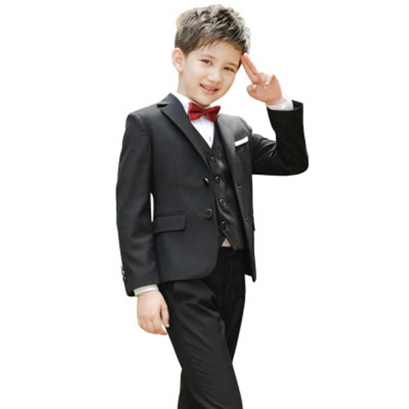 Boys Suits For Weddings Kids Prom Wedding Formal Suits Children Clothing Sets Boy Jacket+Pants+Tie+shirt+Vest 5 Pcs Boys Set high quality school uniform new fashion baby boys kids blazers boy suit for weddings prom formal gray dress wedding boy suits