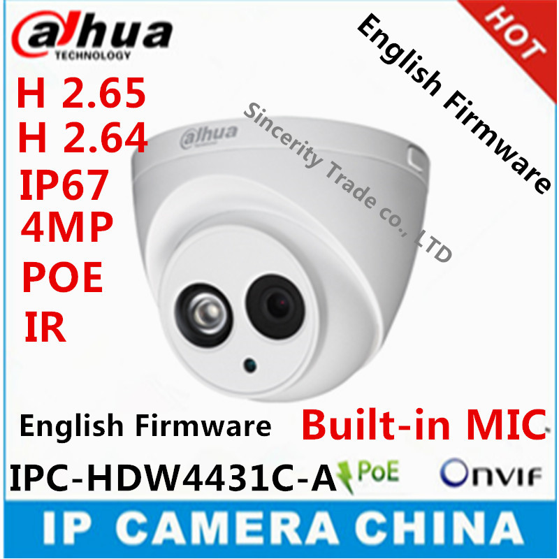 bilder für Dahua h2.65 ipc-hdw4431c-a eingebautem mikrofon hd 4mp ir 30 mt netzwerk ip kamera sicherheit cctv-dome-kamera unterstützung poe hdw4431c-a