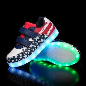 Image 3 - サイズ25 35発光スニーカーusb子供靴少年少女グローイング発光唯一のスニーカーテニス子供ライトアップ靴バスケット