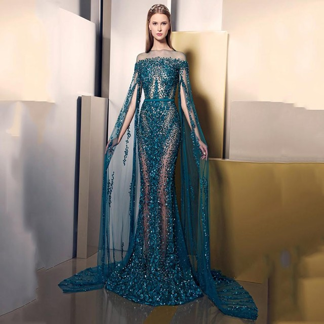 ec87d5c73c9 Gorgeous Sapphire Blue Evening Dresses See Through BlingBling Chiffon  Crystals Long Prom Dress Gowns