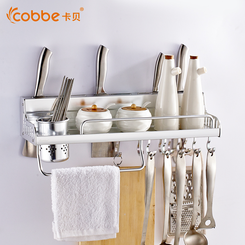 Mirror Space Aluminium Kitchen Shelf Organizer Kitchen Tools Storage Rack of Kitchen Accessories For Spice Scarf Cobbe 29250J multi function kitchen shelves space aluminum shelf storage organizer kitchen accessories kitchen knife holder