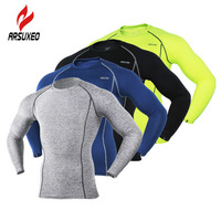ARSUXEO Quick Dry Sports Underwear Running Fitness Basketball Riding Cycling Base Layers Long Sleeve Jerseys Solid
