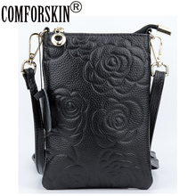 COMFORSKIN Bolsas New Arrivals Embossing Flower Style Women Mobile Phone Bag Guaranteed Cowhide Leather Vertical Messenger Bags