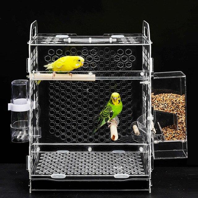 1 PCS Pet bird cage parrot breeding cage tiger skin peony cloud acacia bird small acrylic bird cage AP11261526