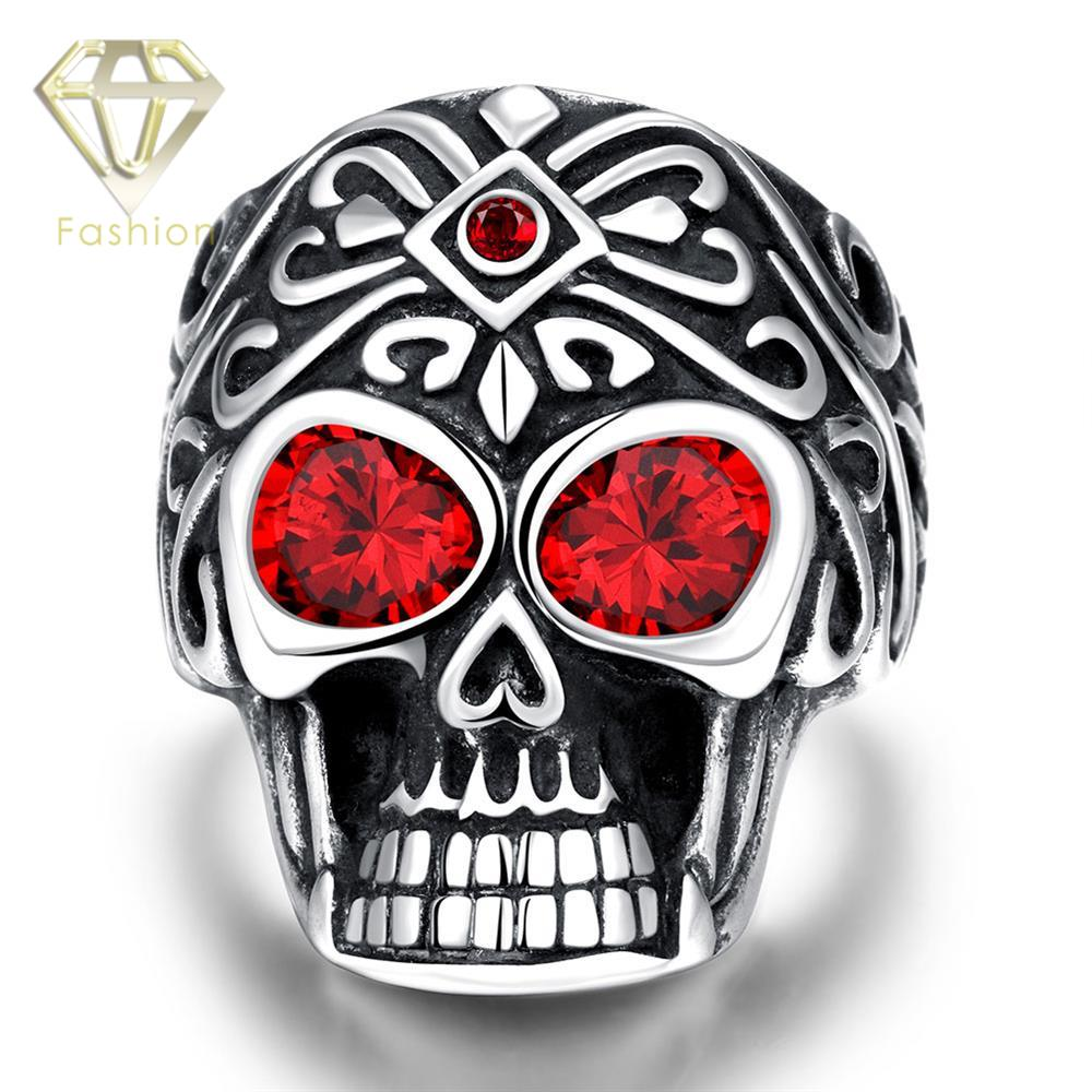 FunFashion Irish Rings New Arrival 316L Stainless Steel Big Red Zircon Eye Skull Ring Punk Style Vintage Party Jewelry for Men Wholesale