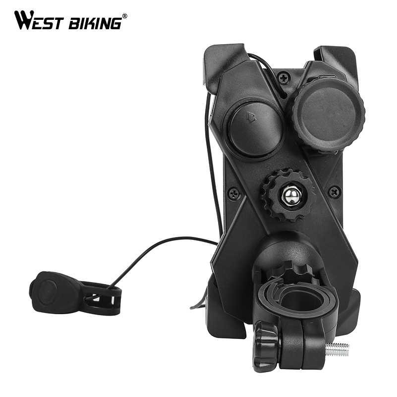 West biking Универсальный держатель для мобильного телефона + велосипедный колокольчик 3,5-6,5 дюймов 360 градусов регулируемый держатель для телефона кронштейн для руля