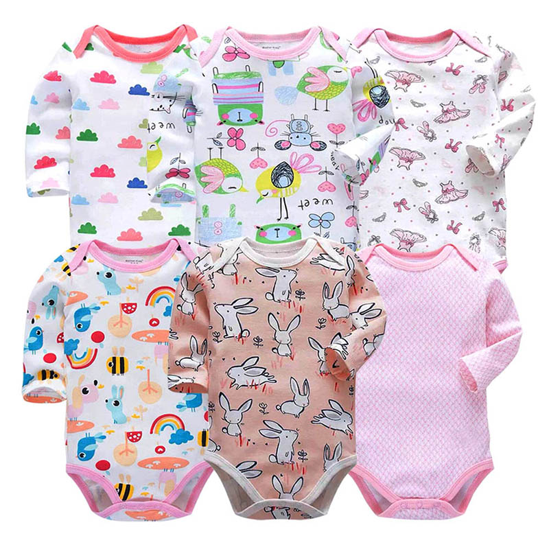 Image 2 - Baby Bodysuit Fashion 6pieces/lot Newborn Body Baby Long Sleeve Overalls Infant Boy Girl Jumpsuit kid clothes-in Bodysuits from Mother & Kids
