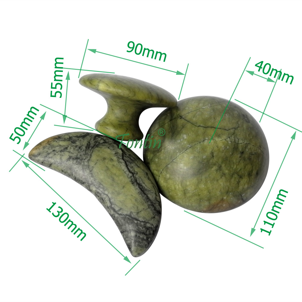 new 3pcs set hemispherical mushroom and moon shaped green jade body massage hot stone SPA set gift thickened canvas bag in Massage Relaxation from Beauty Health