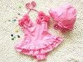 Hot vender one piece floral swimwear terno de natação do biquini crianças swimsuit meninas beachwear maiô + Chapéu do bebê traje de bano