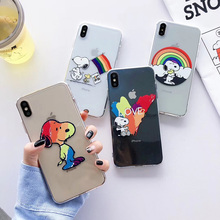 Cartoon anime rainbow dog love painted phone case For iphone Xs MAX XR X 6 6s 7 8 plus couple funny clear soft TPU back Cover