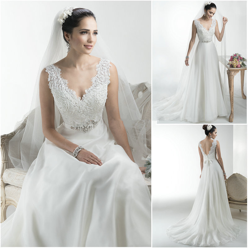 Buy chiffon v neck lace wedding dresses for Shop online wedding dresses