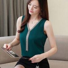 Korean Fashion Chiffon Women Blouses Solid Sleeveless White Shirts Plus Size XXL Womens Tops and Ladies