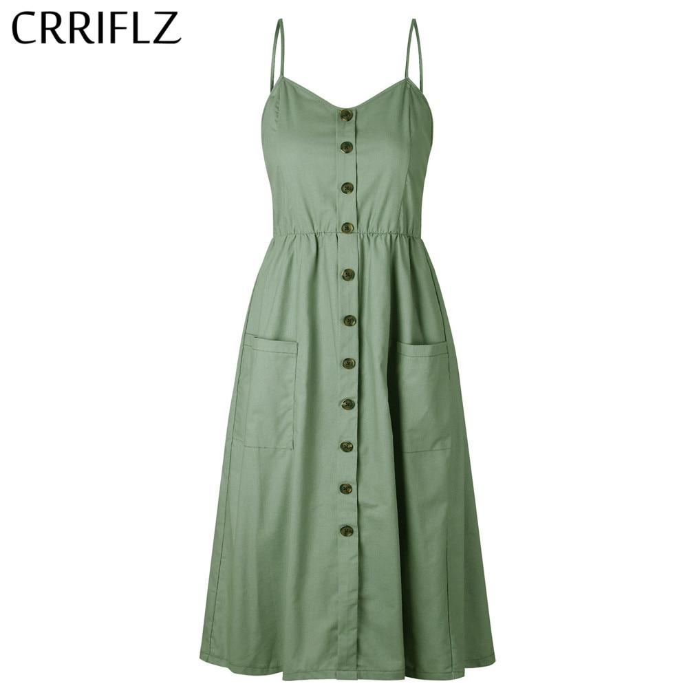 New Boho Off-shoulder Party Beach Sundress Spaghetti Long Dresses Plus Size Summer Women Button Decorated Print Dress CRRIFLZ