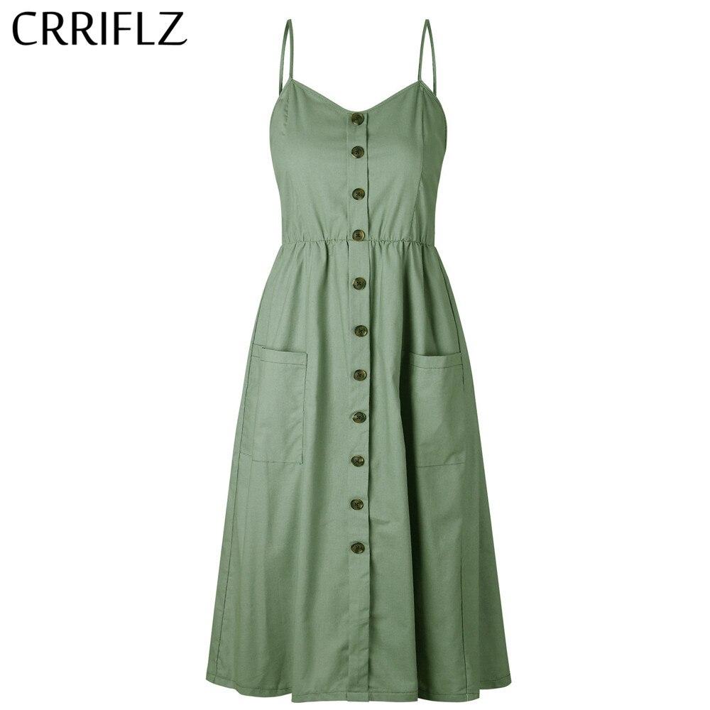 Nuevo Boho fuera del hombro fiesta playa vestido de sol espagueti vestidos largos más tamaño verano mujeres botón decorado vestido de impresión CRRIFLZ