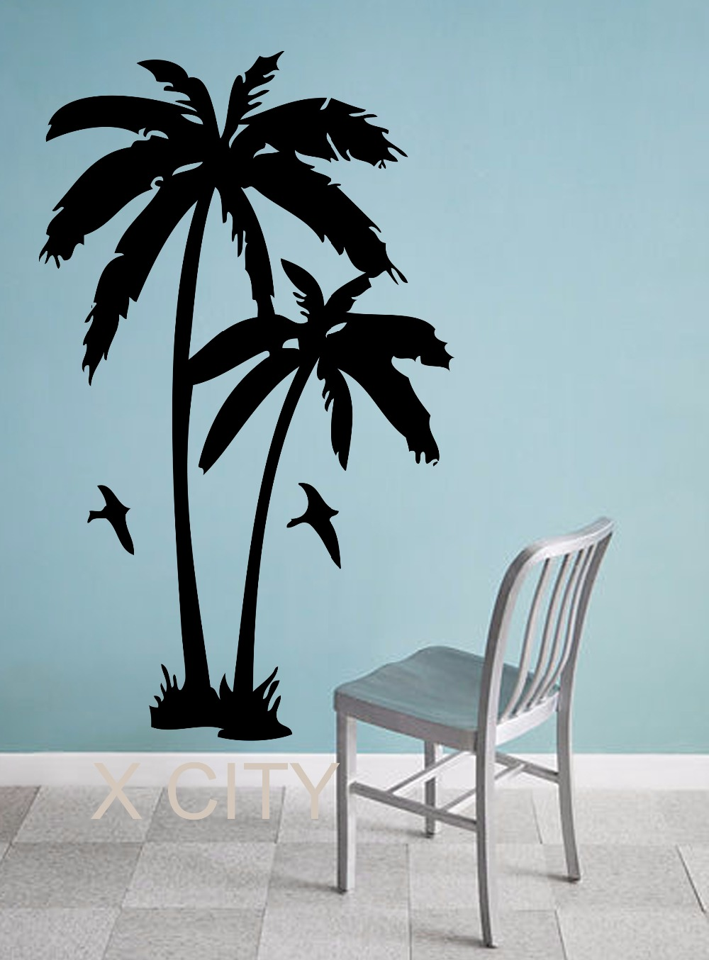 Palm Trees Tropic Landscape Giant Wall Sticker Vinyl Art Decal Window  SILHOUETTE Stencil Living Room Decor