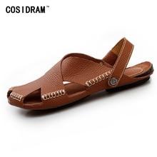 Genuine Leather Men Sandals Breathable Soft Summer Men Shoes Casual Male Sandalias Comfortable Peep Toe Beach Shoes RMC-645
