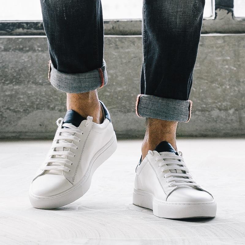 De Couro Estudante Clássico Mycolen Maré Dos Homens Casuais Blue Black Coreana Primeira White cut Camada white Novo Low Do Sapatos Versão BvvWqaP8