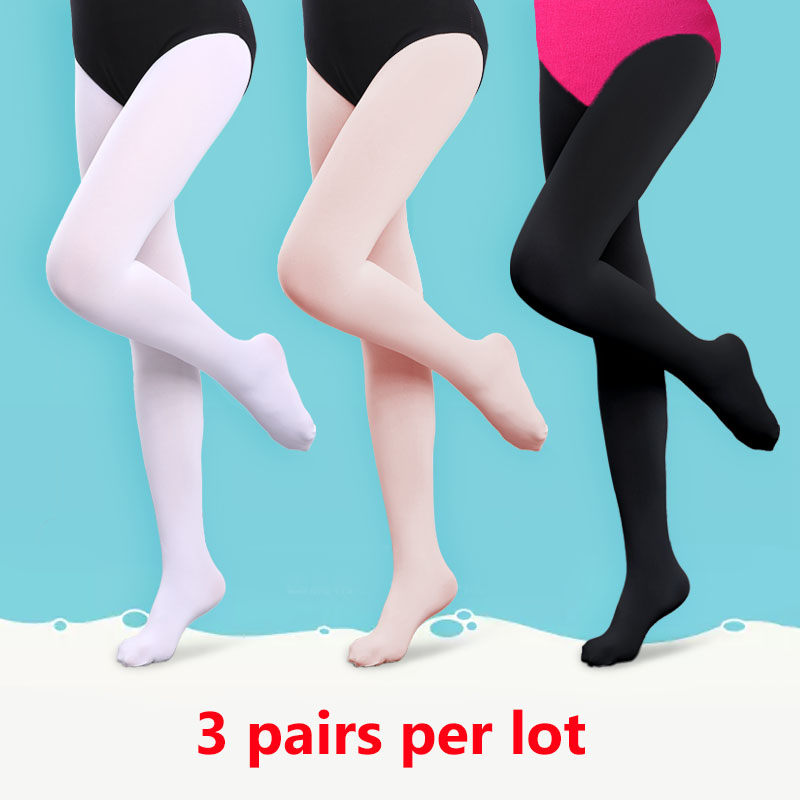 Kids Ballet Tights Girls Women Adult Dance Tights Black Leggings 3 Pairs 90D Pantyhose