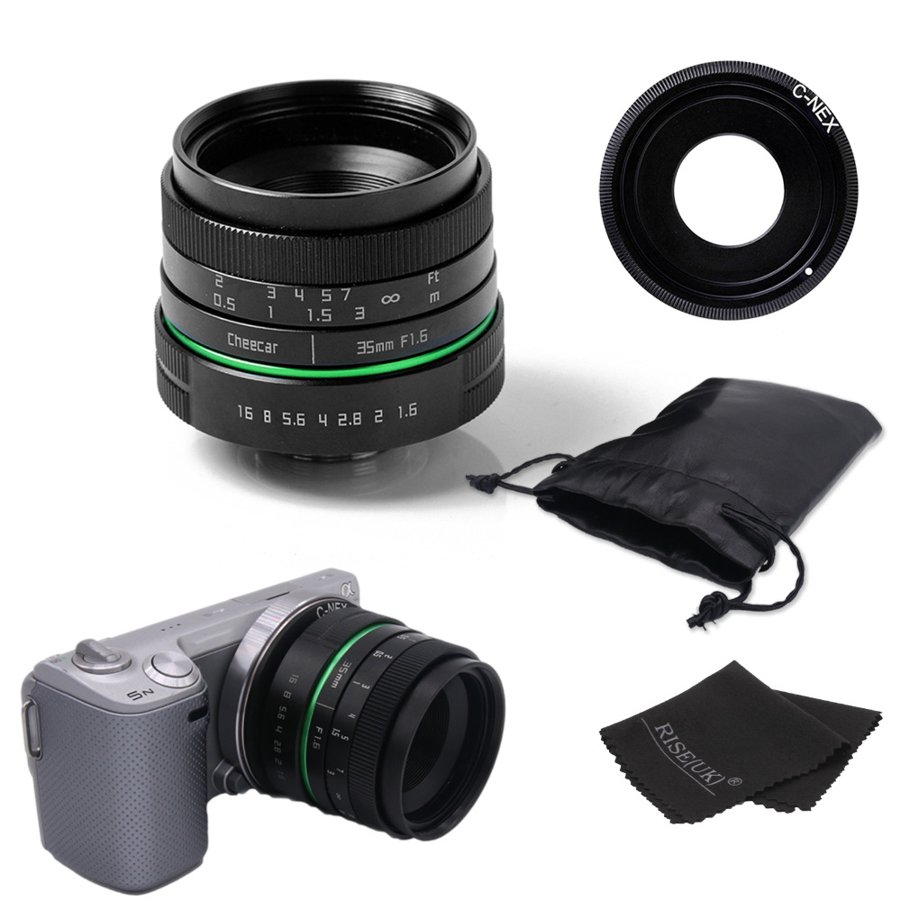 New green circle 35mm APS-C CCTV camera lens For Sony NEX Camera NEX-6,NEX-5R,NEX-F3,with C-NEX adapter ring +bag + gift mirroless for aps c camera 35mm f 1 6 33mm f1 6 for micro camera free shipping