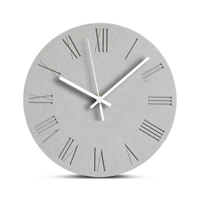 Decorative Wooden Wall Clock Silent Living Room Clock Modern Design Round Wood Hanging Wall Clocks Roman Numerals Home Decor