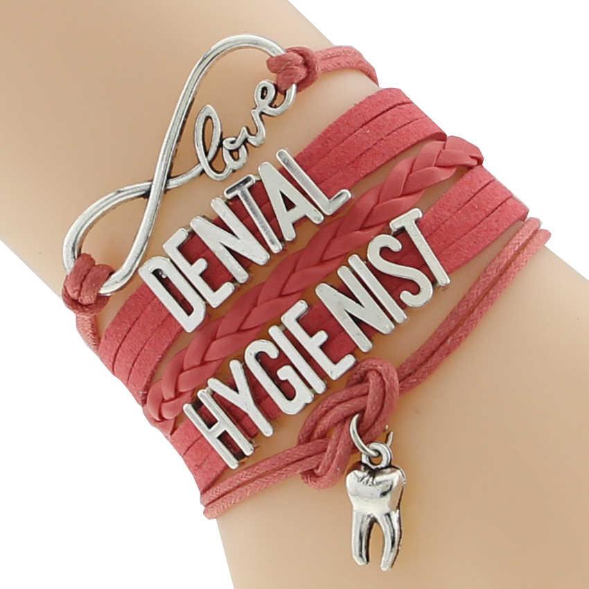 אינפיניטי אהבת שיניים עוזר צוות צמיד שחור חם ורוד מותאם אישית צמיד ידידות צמידים