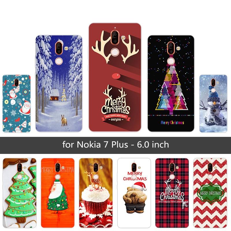 """6,0 """"прозрачный ТПУ для Nokia 7 Plus с Рождеством Христовым телефон случаях Coque для Nokia 7 Plus силиконовый Защитная крышка для Nokia7 плюс Капа"""
