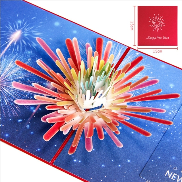 2018 fireworks new year star fireworks 3d greeting card for christmas birthday invitation wedding invitation