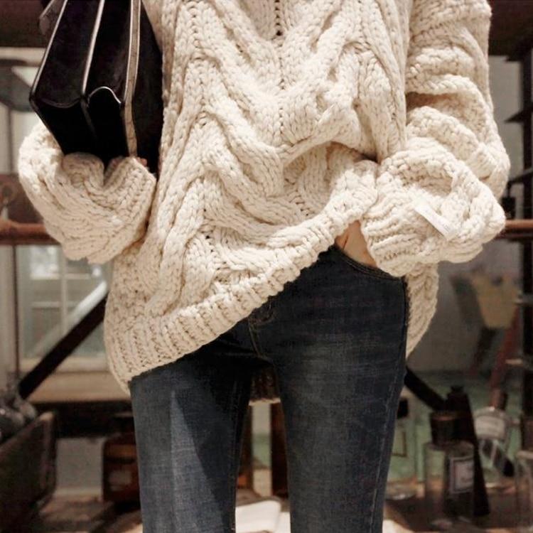 Broches Directe Coton Col Pleine Vente 2018 À rouge Manches Main Chandail D'hiver Femmes Rétro Top Beige Épais épais Longues Pur Pull Haut qA5I5Sw7