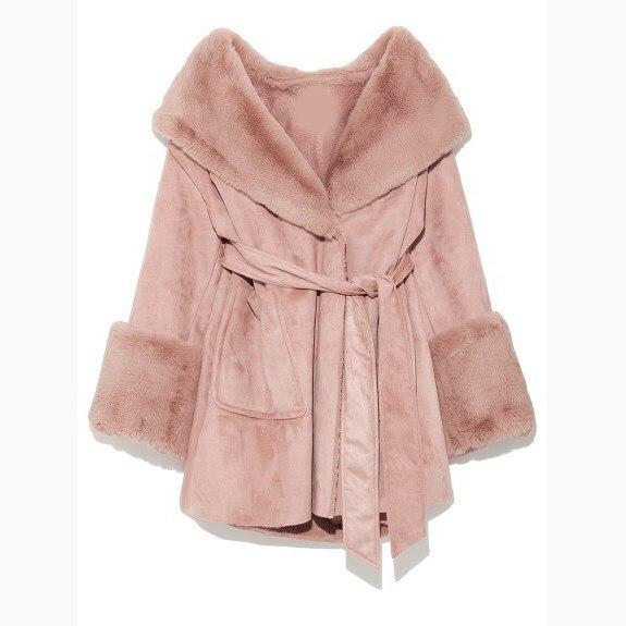 Col Mode Laine Streetwear Solide Poche Hiver Grand noir Femmes De Beige rose Casual Mélanges Fourrure 2018 Dames Manteau Ceinture qzSOxw