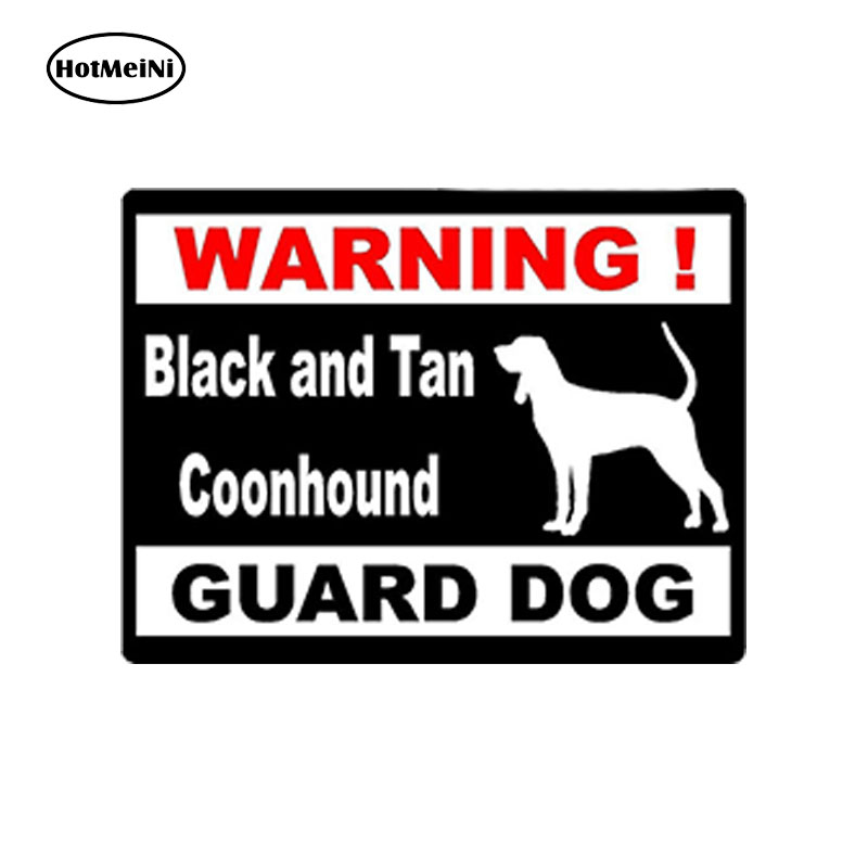 HotMeiNi Car Styling Car Sticker Warning Black And Tan Coonhound Guard Dog Car Window Bumper Vinyl Stickers 10cm*7.5cm standard schnauzer