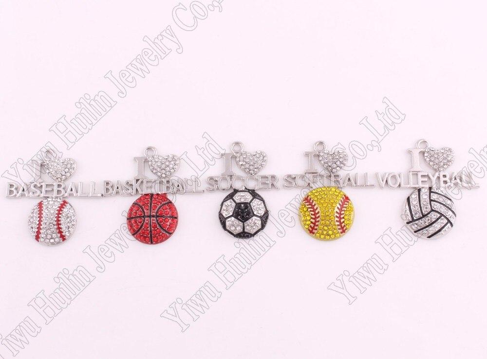 """1.2""""* 1.3"""" дюймов цинк усыпанный сверкающими кристалл красной эмалью 2D я люблю Бейсбол спортивные Подвески вентиляторы любимые украшения"""