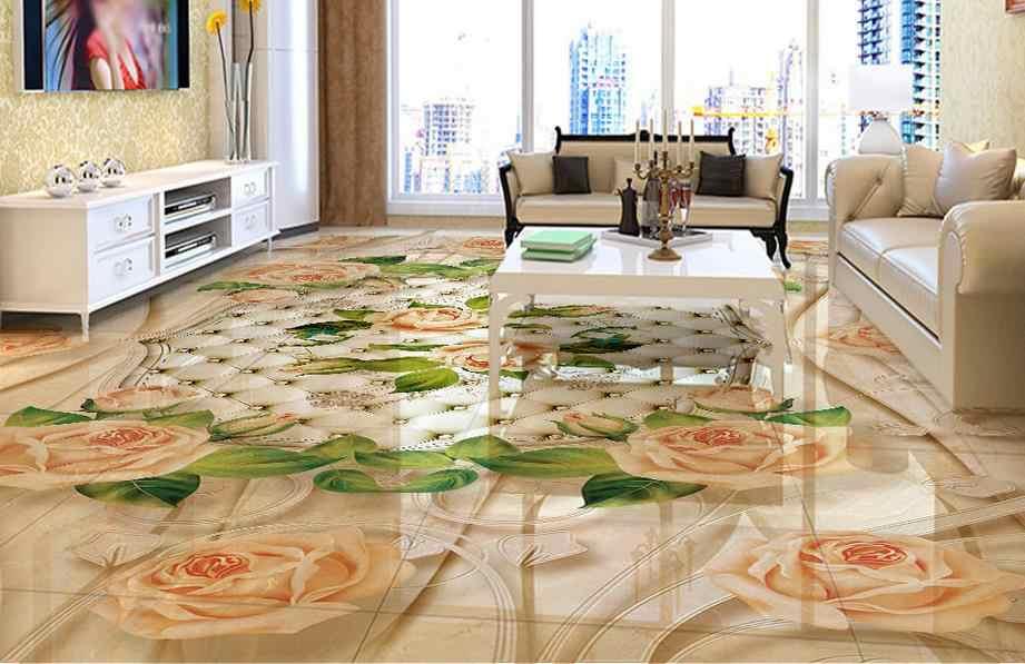 Custom Vinyl Flooring Bathroom Mural Marble Pattern Europe 3d Pvc