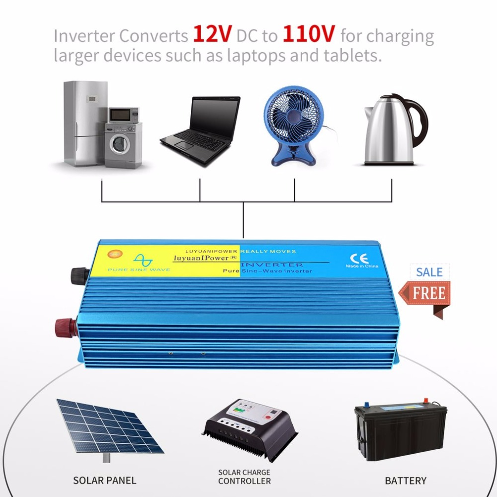 800W Portable Car Power Inverter Solar Inverter DC12V to AC110V Modified Charger Power Converter DC-TO-AC Inverter Adapter 100w folding solar panel solar battery charger for car boat caravan golf cart