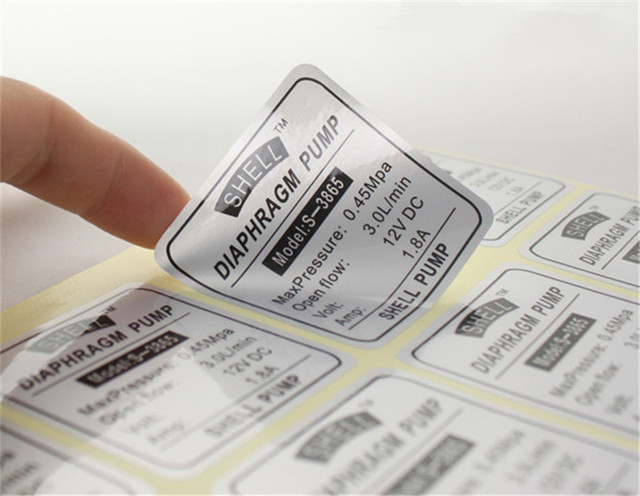 1000pcs customized small glossy silver anti static stickers labels custom durable machine pc introduction adhesive