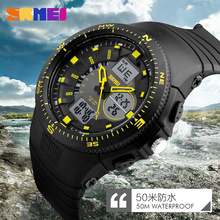 2017 New SKMEI Luxury Brand Men Military Sports fashion casual Watches dual time Digital LED quartz Wristwatches rubber strap