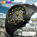 2017 nueva skmei marca de lujo de los hombres militar deportes moda casual relojes de hora dual led digital relojes de pulsera de cuarzo correa de caucho