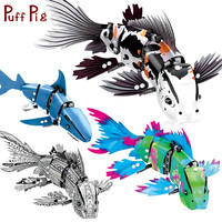 4 Sets/lot Technic Series Shark Fish Animal Figures Model Building Blocks Legoingly Technic Creative Enlighten Bricks