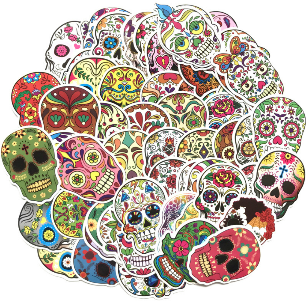 Etie 50pcs/pack Not Repeat Fashion Label Art Car Board Graffiti Sticker Waterproof Colorful Terror Skull Decal Car Accessories Стикер