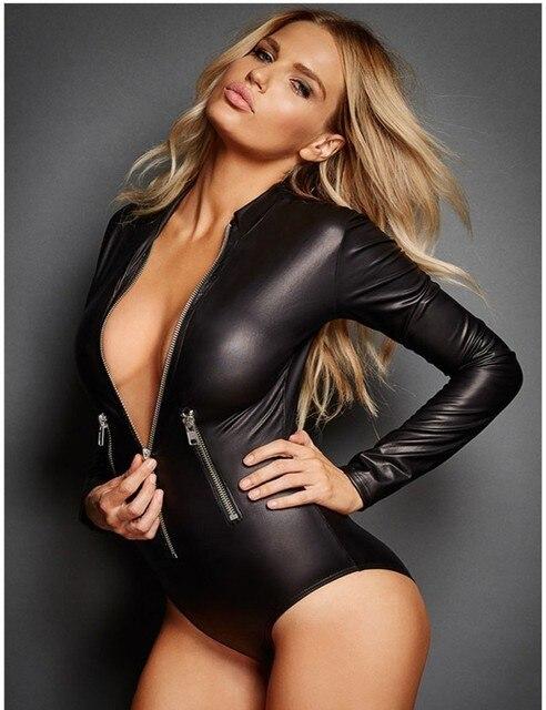 Black Vinyl Leather Erotic Lingerie Bodysuit Zipper Fishnet Jumpsuit Long Sleeve Romper Overall Latex Catsuit Catwomen Costume