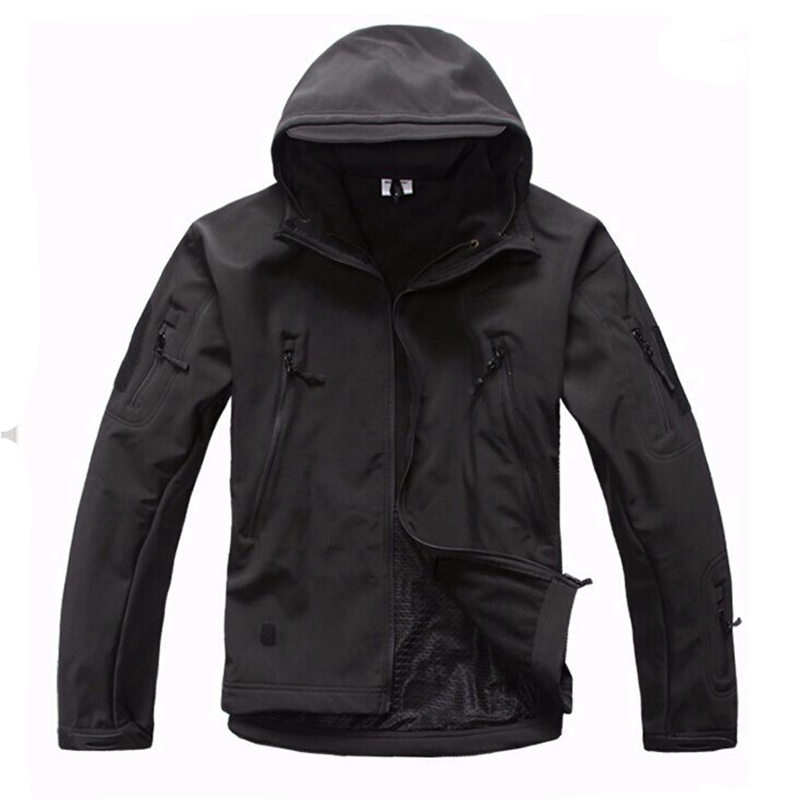Men Outdoor Water Resistant Tactical Softshell Hooded Jacket Outdoor Camouflage Hunting Fleece Hooded Coat Black outdoor breathable softshell jacket men s black tactical hunting waterproof windproof jacket soft shell with fleece lining