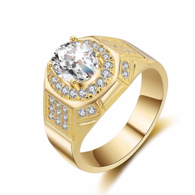 Gold Silver Color Luxury Oval Men Sterling Wedding Ring Engagement Rings Cubic Zirconia Gift