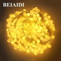 Oferta BEIAIDI 100M bola globo adorno LED cadena luz Navidad Hada luz exterior fiesta de boda Luz