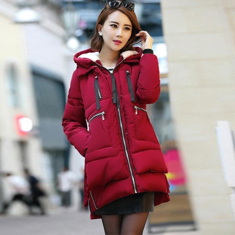 Зимняя куртка, Женское зимнее пальто с хлопковой подкладкой, женские парки, толстая теплая хлопковая одежда с капюшоном, верхняя одежда, плюс размер 5XL K680 - Цвет: Wine red