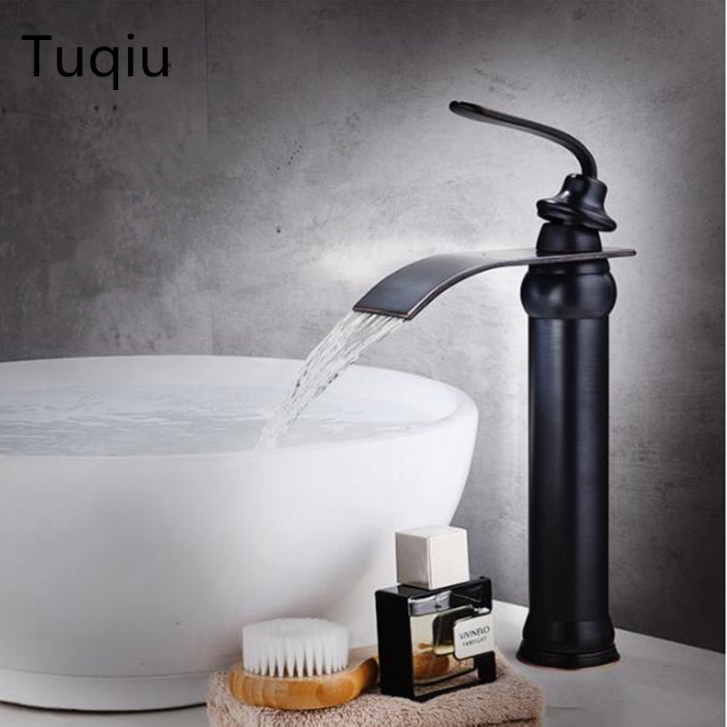Black Oil brushed Basin Faucet hot cold waterfall faucet tap sink mixer tap luxury bathroom basin faucet brass water tap mixer