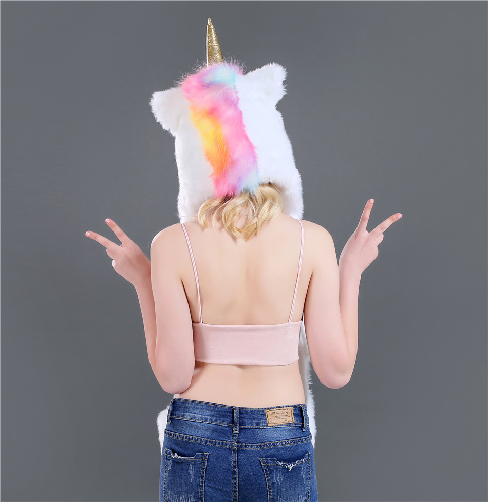New Fashion Autumn And Winter Unicorn Three Pieces Set Faux Fur Hat Plush Cartoon Animal Hat Hat Scarf Gloves One SN51 (7)