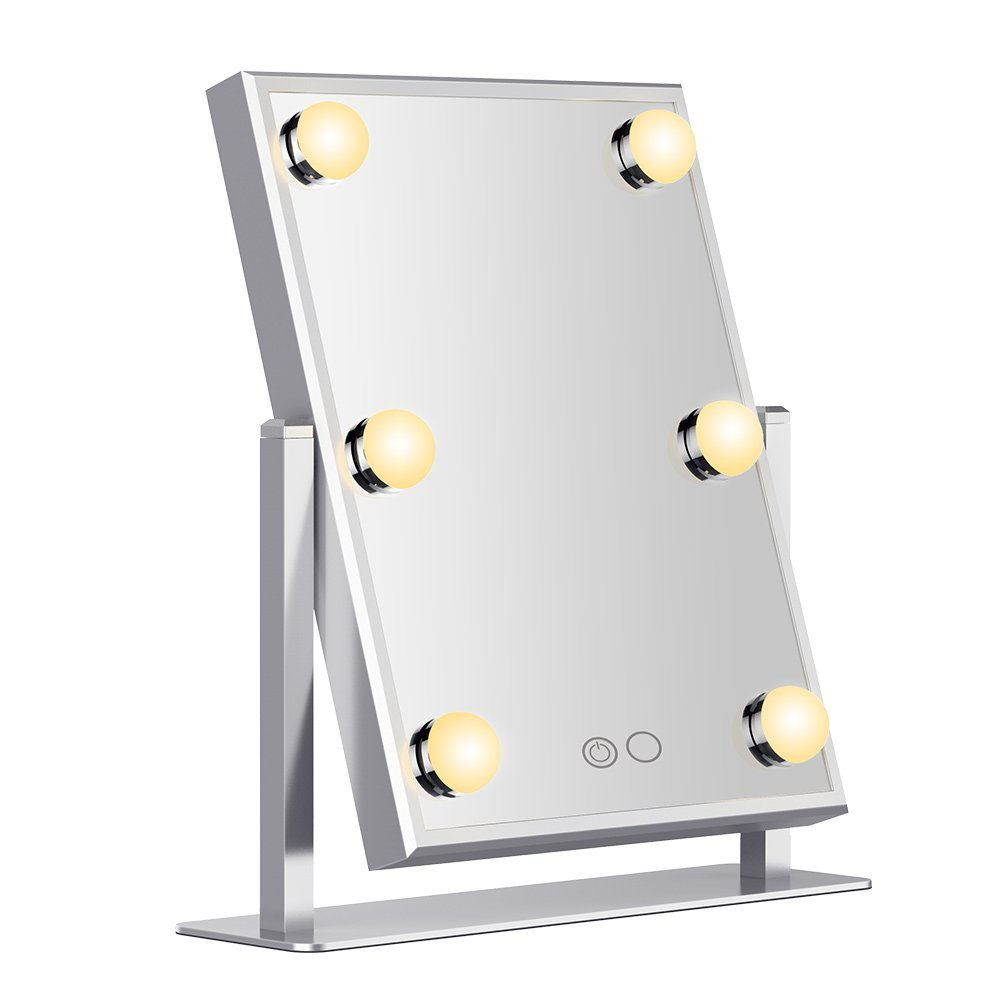 Hollywood Makeup Vanity Mirror White and warm Lighted Makeup Mirror Tabletops Cosmetic Mirror with LED Bulbs