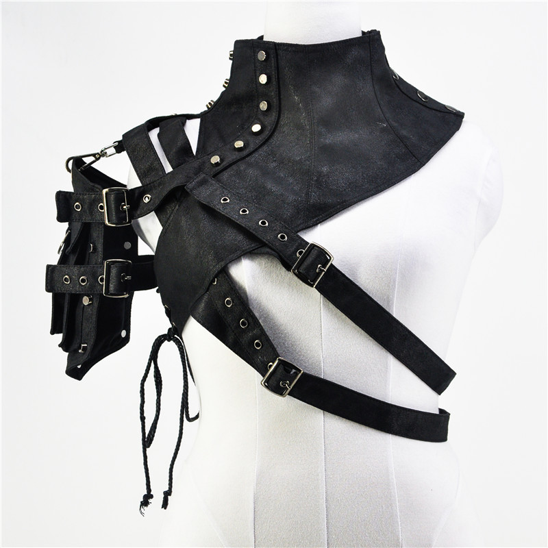 Victorian Punk Gothic Bolero Women Steampunk Black Leather Rivet Arm Armor Stand Collar Jackets Gothic Corset Accessories