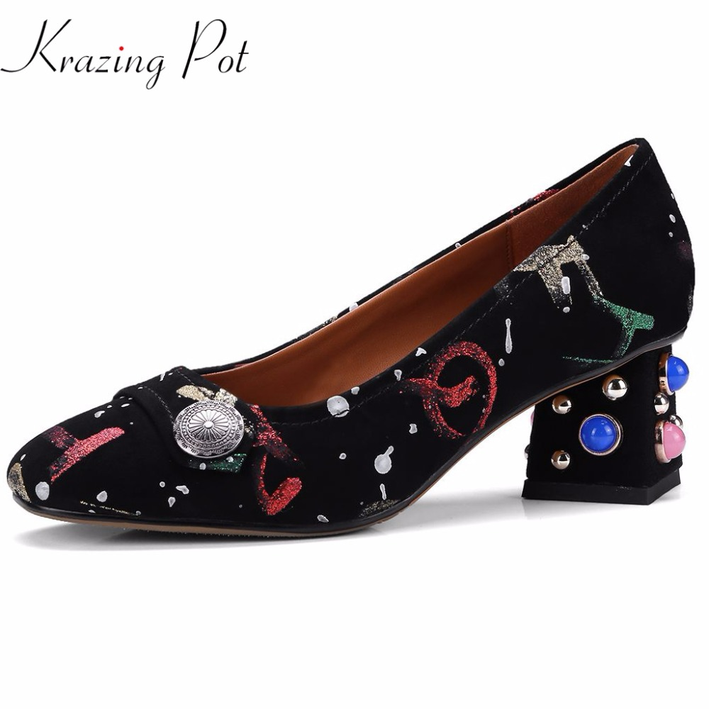 Krazing pot sheep suede diamond heels rivets square high heels mixed color pattern pumps round toe slip on women brand shoes L01 krazing pot 2018 cow leather simple design breathable high heels hollow women pumps round toe brown white color brand shoes l92
