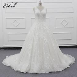 Eslieb с v-образным вырезом и бусинами свадебное платье 2019 свадебное платье es A Line полное тело Бусы Свадебные платья Hochzeitskleid Vestidos